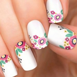 Nail Wraps White Colorful Floral